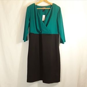 NWT Lane Bryant Dress Green Top Black Bottom